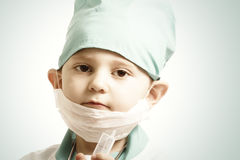 Little serious doctor boy Royalty Free Stock Image