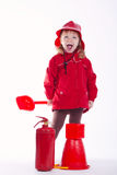 Little serious firefighter on white background Stock Image