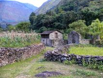 Little settlement near Dana, Nepal Stock Image