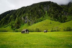 Little shack in Austrian alps royalty free stock images
