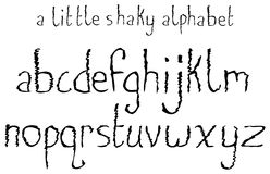 A Little Shaky Alphabet. A lowercase font set with a shaky theme Stock Illustration
