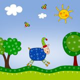 Little Sheep. Colorful graphic illustration for children Stock Images
