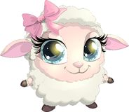 Little sheep. Beautiful sheep with big eyes on white background Royalty Free Stock Photography