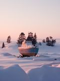 Little ship. On coast of White Sea, Russia royalty free stock photography