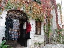 A little shop in ancient French village royalty free stock photography