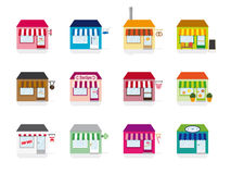 Little Shop Icons Vector Illustration Stock Images
