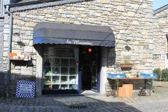 A little shop in Durbuy, Belgium. A little shop with souvenirs in Durbuy, Belgium with the local products offering mainly souvenirs. Durbuy is a Walloon city and Stock Images