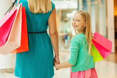 Little shopaholic. Royalty Free Stock Images