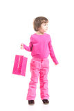Little shopper in pink Royalty Free Stock Photo
