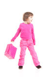 Little shopper in pink Royalty Free Stock Photos