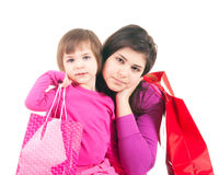 Little shoppers in pink Stock Photos