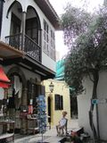 Little shops in Nicosia, Cyprus stock photography