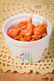 Little shrimp in a bowl appetizer Royalty Free Stock Image