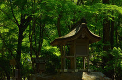 Little shrine in woods, Kyoto Japan. Little shrine settled on a holy stone of sanctuary in green rich forest, Kamigamo Shrine Kyoto Japan Stock Photos
