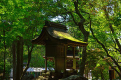 Little shrine in woods, Kyoto Japan. Little shrine settled on a holy stone of sanctuary in green rich forest, Kamigamo Shrine Kyoto Japan Stock Image