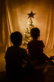 Little sibling boy sitting in front of christmas tree with the light silhouette at. Night stock images