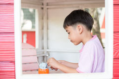 Little sibling boy sitting in the tree house eating ice cream Royalty Free Stock Photos