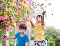 Little sibling boy throw flowers in to the air Royalty Free Stock Photos