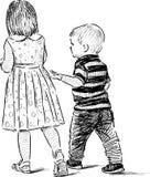 Little siblings Stock Image