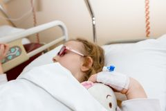 Disposable infusion on patient hand, preschooler child Royalty Free Stock Photo