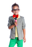 Little singer and showman. Portrait of Stylish little singer and showman, isolated on white background Royalty Free Stock Photography