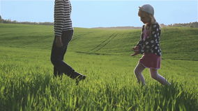 Little sister and brother are going through a green meadow one after the other. stock footage