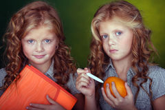 Little sisters. Portrait of twin sisters on the green background Royalty Free Stock Image
