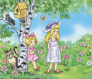Little sisters. Colorful illustration of the two little girls in the garden royalty free illustration