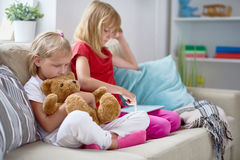 Little Sisters Enjoying Peaceful Evening royalty free stock photography