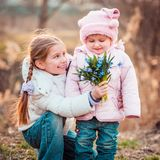 Little sisters royalty free stock images