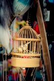 Little size metal bird house. Little white bird house made of wood royalty free stock photos