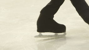 Little skaters train on the ice stock video