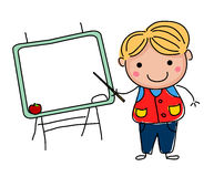 Little sketch boy and blackboard Royalty Free Stock Photos