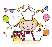 Little sketch girl and cake Stock Photography