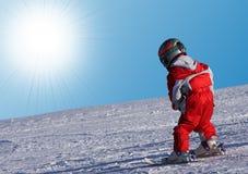 Little skier. On Ski Slope Royalty Free Stock Photos
