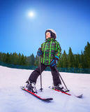 Little skier   Stock Photo