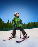 Little skier in mountain sky resort Stock Photos