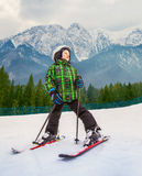 Little skier in mountain sky resort Royalty Free Stock Photography
