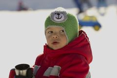 Little skier. Royalty Free Stock Images