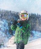 Little skier portrait in ski areal Stock Image