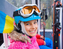 Little skier on ski lift Royalty Free Stock Photography