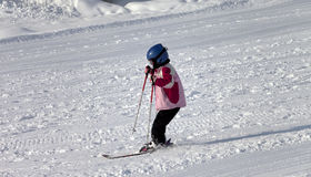 Little skier on ski slope Royalty Free Stock Photo