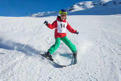 Little skier training to make the stem turn Stock Image