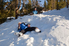 Little skiers relaxing Royalty Free Stock Images