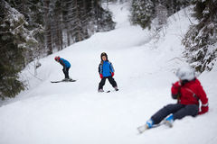 Little skiers Royalty Free Stock Photos