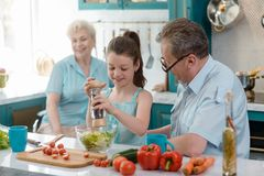 Little smart girl cooking royalty free stock image