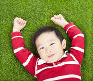 Little smiling boy resting and hand up  in meadow Royalty Free Stock Image