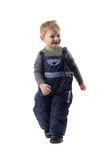 Little smiling boy 3 years winter pants in the studio Stock Photos