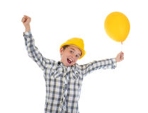 Little smiling builder in helmet Royalty Free Stock Image