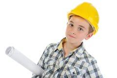 Little smiling builder in helmet Stock Photography